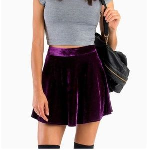 Tobi Purple Velvet Skirt